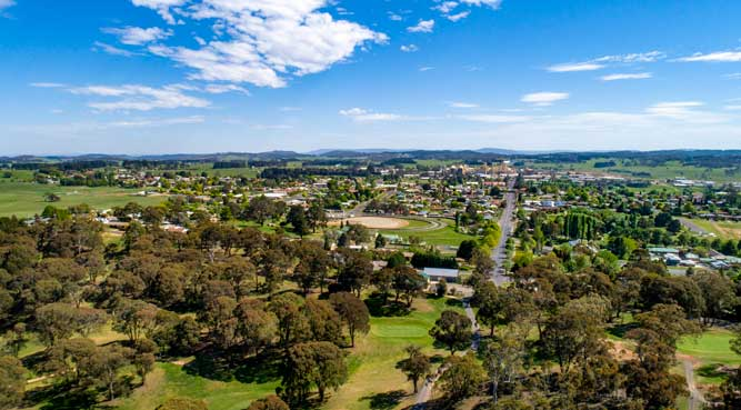image_ credit: Destination NSW - aerial view of Oberon
