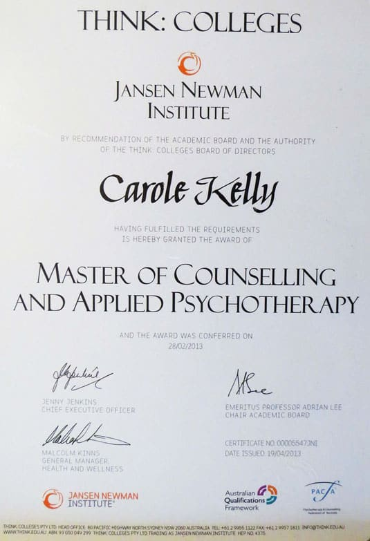 Carole Kelly's Masters of Counselling and Applied Psychotherapy certificate